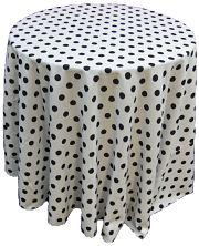 Polka dot tablecloth round pink linen like tablecloths for Black polka dot tablecloth