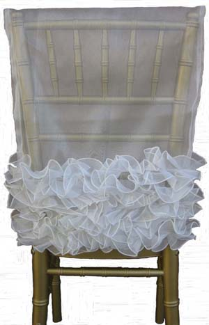 Sheer Chair Cap With Ribbon Band For Chivari Chairs