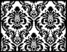 "Black/White Damask 90"" Round Tablecloths"