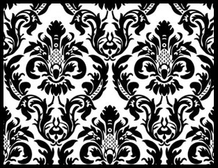 "Black/White Damask 12"" x 72"" Table Runner"